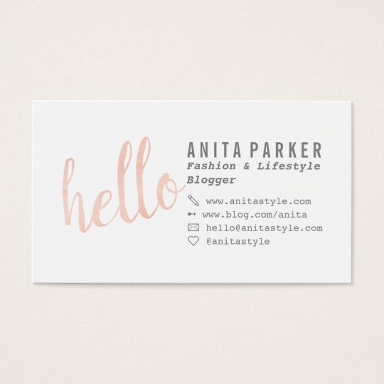 Modern coral watercolor brush hello script blogger for Business cards for bloggers