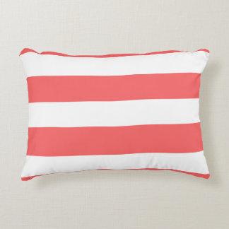 Modern Coral White Stripes Pattern Decorative Pillow