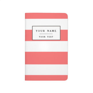 Modern Coral White Stripes Pattern Journal