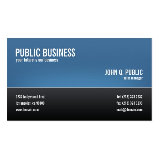 Modern Corporate Black and Blue Double-sided Standard Business Cards (pack Of 100)