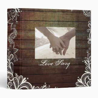 modern country barn wood lace rustic wedding binder