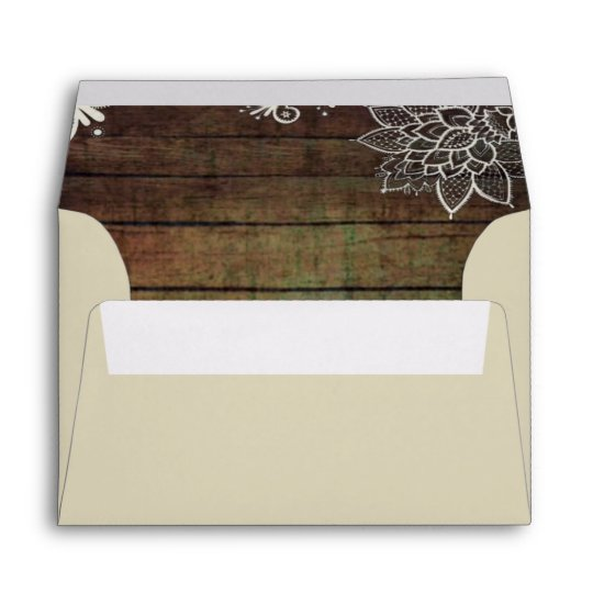 modern country barn wood lace rustic wedding envelope