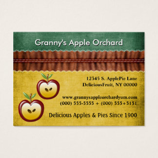 Modern Country Charm With Apples Red Green Bakery Business Card