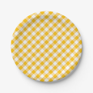 Modern Country Gingham Check Pattern Paper Plate  sc 1 st  Zazzle & Yellow Gingham Plates | Zazzle