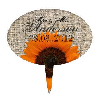 Modern Country orange Sunflower burlap wedding Cake Picks