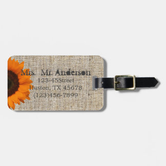 Modern Country orange Sunflower burlap wedding Tags For Bags