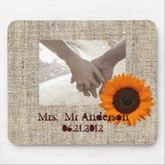 Modern Country orange Sunflower burlap wedding Mouse Pad