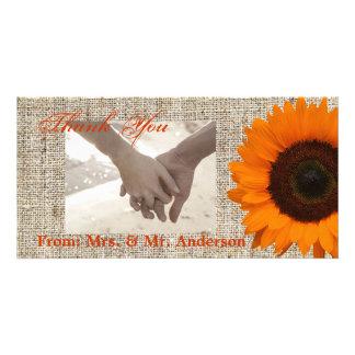 Modern Country orange Sunflower burlap wedding Photo Card