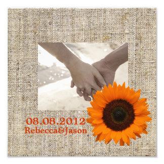 Modern Country orange Sunflower burlap wedding Photo Art