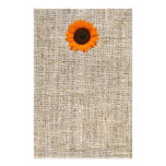 Modern Country orange Sunflower burlap wedding Personalized Stationery