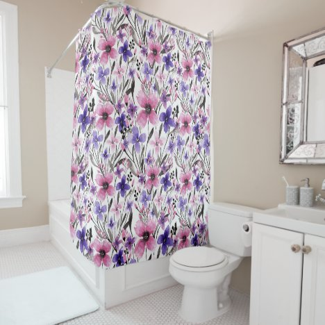 Modern Country Pink Purple Floral Watercolor Shower Curtain