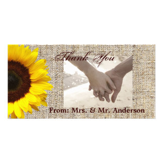 modern country wedding yellow Sunflower burlap Picture Card