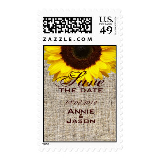modern country wedding yellow Sunflower burlap Stamps