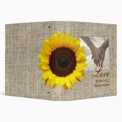 Modern Country yellow Sunflower burlap wedding 3 Ring Binder