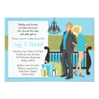 Modern Couple Baby Shower Invitation for Boy