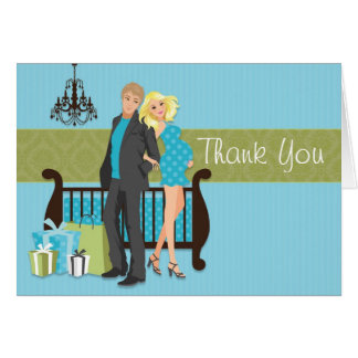 Modern Couple Baby Shower Thank You Card