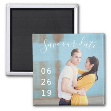 Wedding Themed Modern Couple Photo Wedding Save the Date Magnets