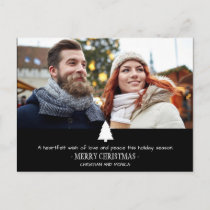 Modern Couple Pine Tree Photo Christmas Card