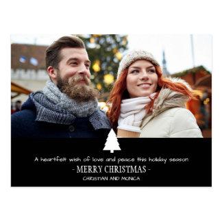 Modern Couple Pine Tree Photo Christmas Card