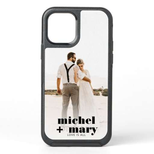 Modern couple wedding photo names love quote OtterBox symmetry iPhone 12 case