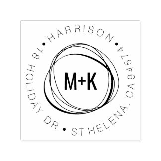 Modern Couples Monogram Round Return Address Self-inking Stamp