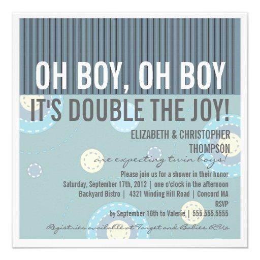 Modern Couples Twin Boy Baby Shower Invitation