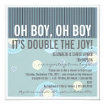Modern Couples Twin Boy Baby Shower Invitation