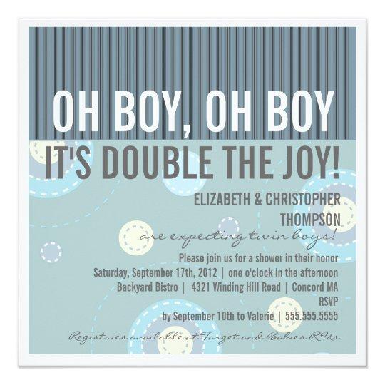 Modern Couples Twin Boy Baby Shower Invitation Zazzlecom
