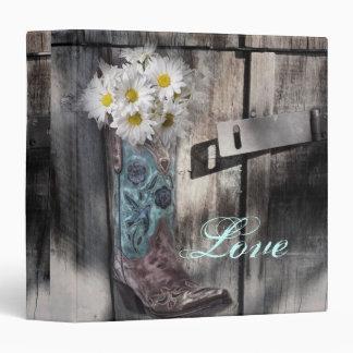 modern cowboy boots white daisy barn wedding vinyl binders