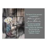modern cowboy boots white daisy barn wedding 5x7 paper invitation card