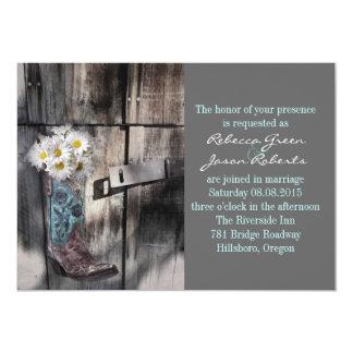 modern cowboy boots white daisy barn wedding cards