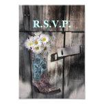 modern cowboy boots white daisy barn wedding rsvp 3.5x5 paper invitation card