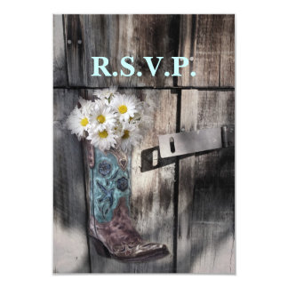 modern cowboy boots white daisy barn wedding rsvp personalized invites