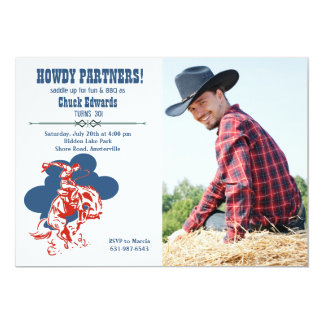 Modern Cowboy Photo Invitation