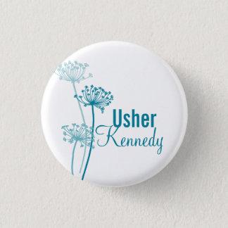 Modern cows parsley Usher wedding pin button