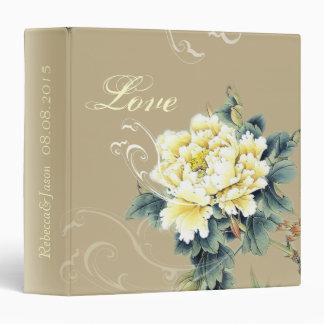 modern cream vintage spring Peony floral wedding Vinyl Binder