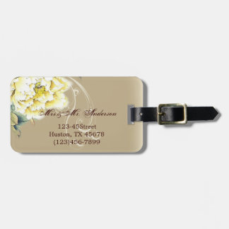modern cream vintage spring Peony floral wedding Tag For Bags