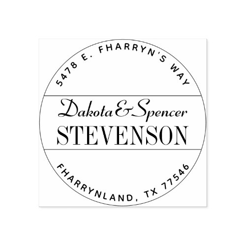 Modern Create Your Own Wedding Name Return Address Rubber Stamp