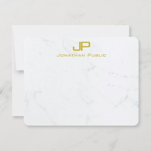 Modern Creative Monogram Gold White Marble Trendy Note Card