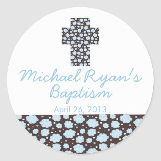 Modern Cross Blue Brown Floral Baptism Favor Seal Classic Round Sticker