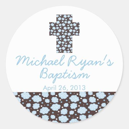 Modern Cross Blue Brown Floral Baptism Favor Seal Round Sticker