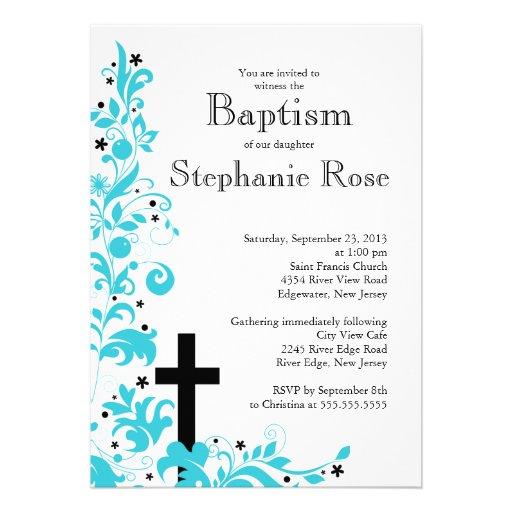 Modern Cross Blue Flower baptism, Invitation