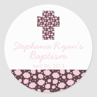 Modern Cross Pink Brown Floral Baptism Favor Seal Stickers