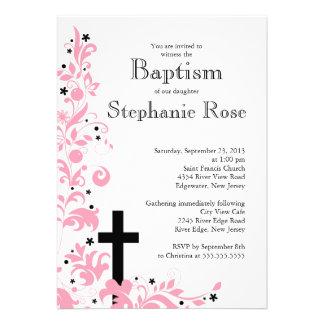 Modern Cross Pink Flower Bridal Shower Invitation