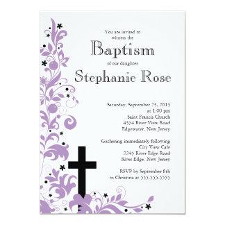 Modern Cross  purple Flower  Baptism  invitation