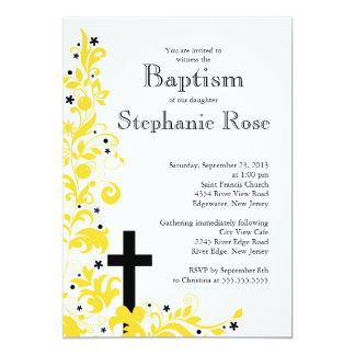 Modern Cross Yello Flower Bridal Shower Invitation