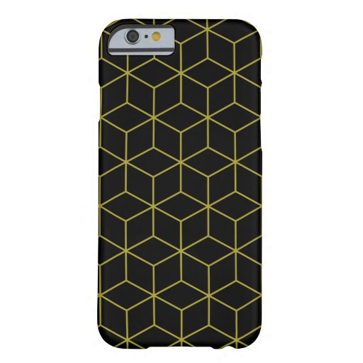 Modern Cubes Gold on Black Pattern Barely There iPhone 6 Case