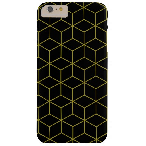 Modern Cubes Gold on Black Pattern Barely There iPhone 6 Plus Case