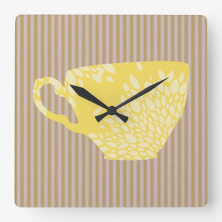 Modern Cup & Stripes Square Wall Clock