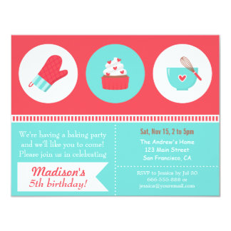 Modern Cupcake Cooking Baking Birthday Party Card